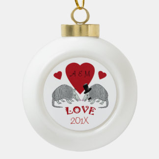Armadillos in Love Christmas Keepsake Ceramic Ball Christmas Ornament