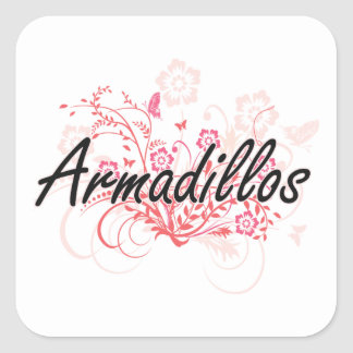 Armadillos with flowers background square sticker