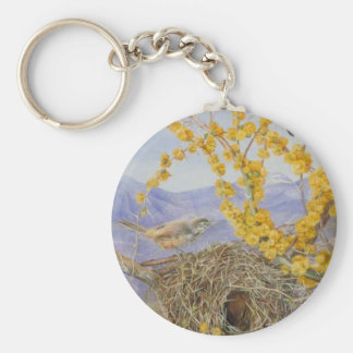 Armed Bird's Nest in Acacia Bush, Chile by Mariann Basic Round Button Key Ring