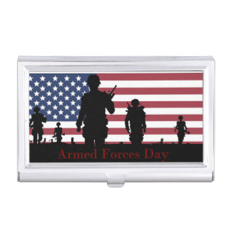 Armed Forces Day American Flag with Soldiers Business Card Holder