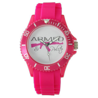 Armed & Polite, Custom Sporty Pink Silicon Watch