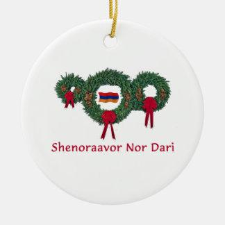 Armenia Christmas 2 Round Ceramic Decoration