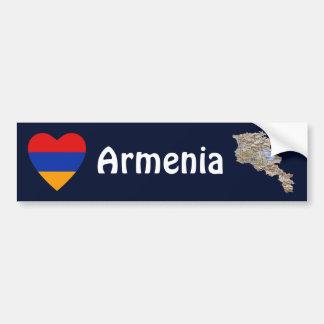 Armenia Flag Heart + Map Bumper Sticker