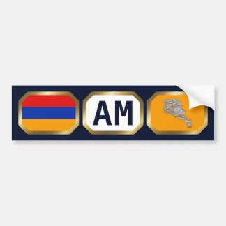 Armenia Flag Map Code Bumper Sticker