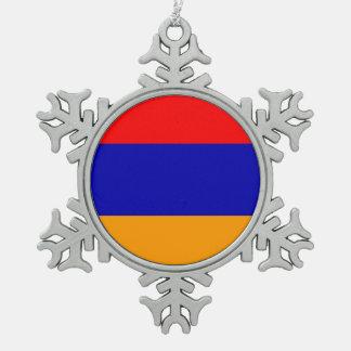 Armenia Flag Pewter Snowflake Decoration
