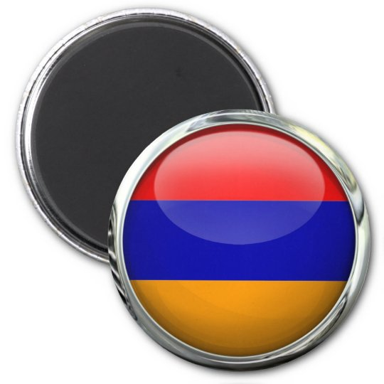 Armenia Flag Round Glass Ball Magnet