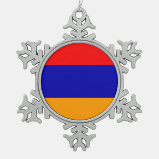 Armenia Flag Snowflake Pewter Christmas Ornament