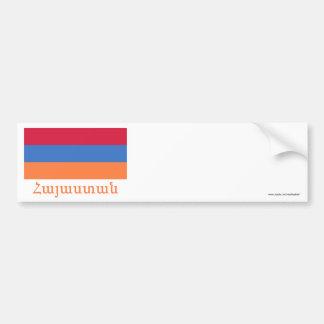 Armenia Flag with Name in Armenian Bumper Sticker