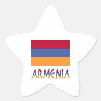 Armenia Flag & Word Star Sticker
