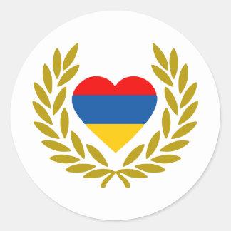 armenia-laurel-heart classic round sticker