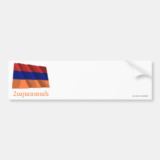 Armenia Waving Flag with Name in Armenian Bumper Sticker