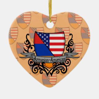 Armenian-American Shield Flag Ceramic Heart Decoration