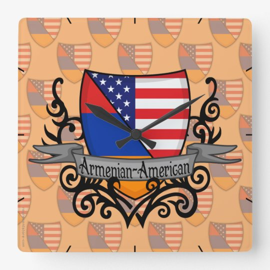 Armenian-American Shield Flag Square Wall Clock