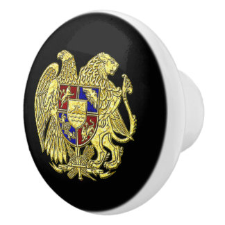 Armenian Coat of Arms Your Background Color Ceramic Knob