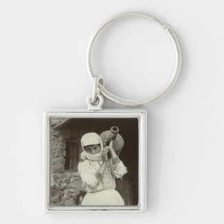 Armenian country girl, Yerevan Silver-Colored Square Key Ring