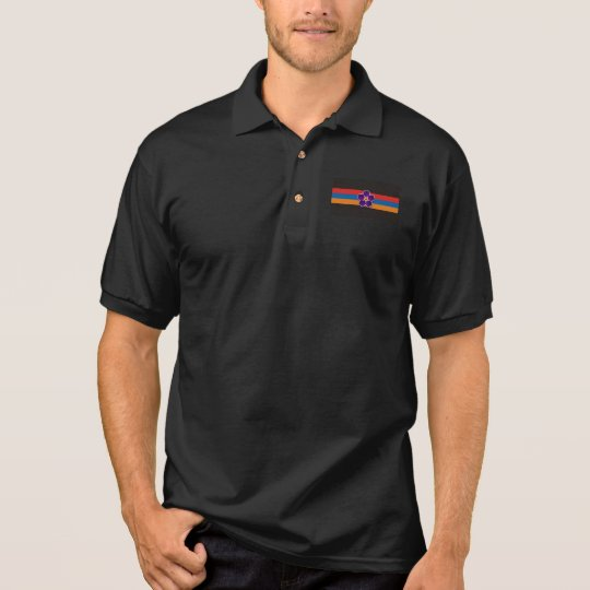 Armenian flag and flower Men's Polo Shirt