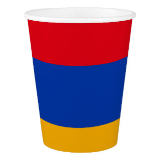 Armenian flag paper cup