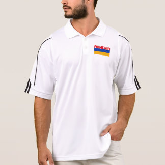 Armenian Flag Red Stripe Text Polo Shirt
