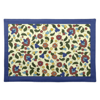 Armenian floral pattern placemat - blue & cream