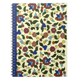 Armenian Floral Print - Navy Blue & Cream Spiral Notebook