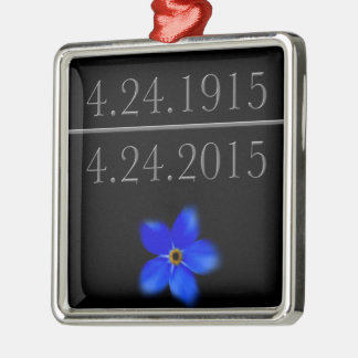 Armenian Genocide Forget Me Not Silver-Colored Square Decoration