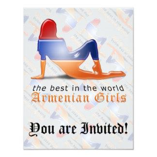 Armenian Girl Silhouette Flag 11 Cm X 14 Cm Invitation Card