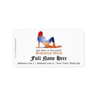 Armenian Girl Silhouette Flag Address Label
