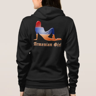 Armenian Girl Silhouette Flag Hoodie
