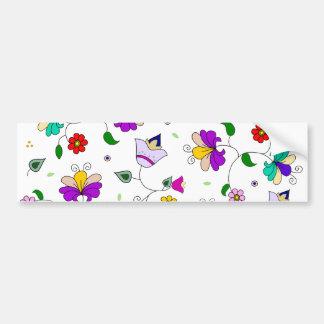 Armenian-inspired Colorful Swirling Flower Pattern Bumper Sticker