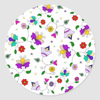 Armenian-inspired Colorful Swirling Flower Pattern Stickers