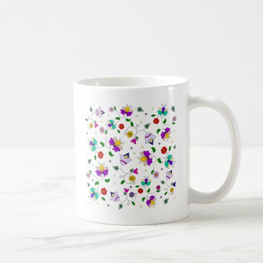 Armenian-inspired Colourful Swirling Flower Basic White Mug