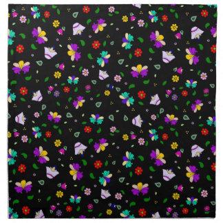 Armenian-inspired Curling Flower Pattern - Black Napkin