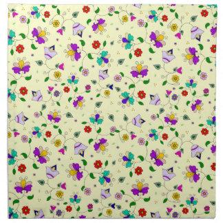 Armenian-inspired Curling Flower Pattern - Cream Napkin