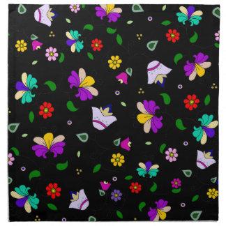 Armenian-inspired Floral Pattern - black Napkin