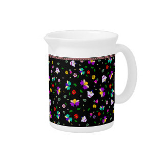 Armenian-inspired Floral Pattern - Black Pitcher