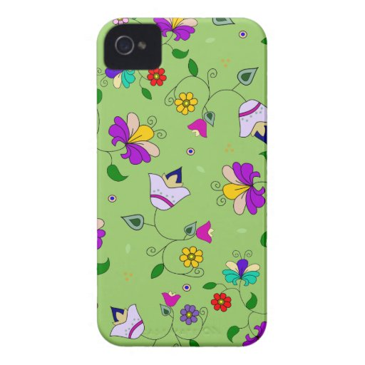 Armenian-inspired Floral Pattern - Green iPhone 4 Cases