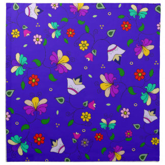 Armenian-inspired Floral Pattern - Navy Blue Napkin