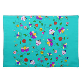 Armenian-inspired Flower Pattern - Turquoise Teal Placemat