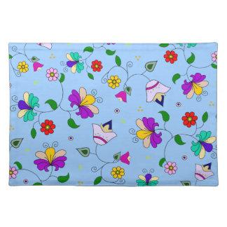 Armenian-inspired Spring Flower Pattern - Blue Placemat