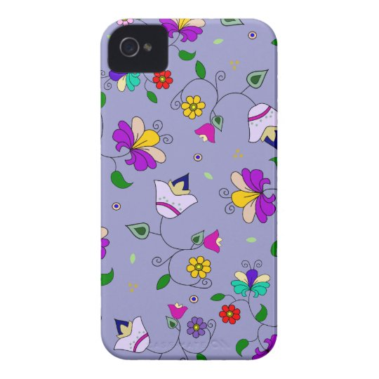 Armenian-inspired Swirling Floral Pattern - Purple Case-Mate iPhone 4 Case