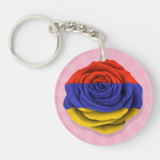 Armenian Rose Flag on Pink Double-Sided Round Acrylic Key Ring