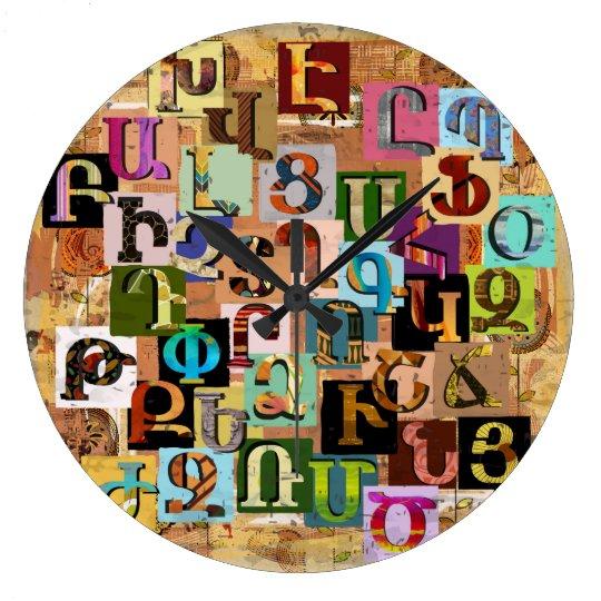 Armenian Textural Alphabet Large Clock