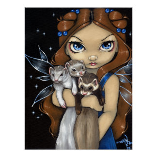 Armful of Ferrets ART PRINT fairy fantasy ferret