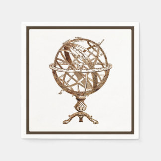 Armillary Celestial Sphere Vintage Sepia Disposable Serviette