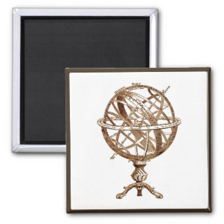 Armillary Celestial Sphere Vintage Sepia Square Magnet