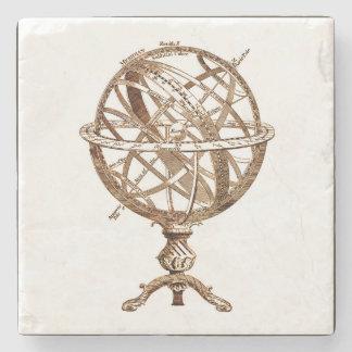 Armillary Celestial Sphere Vintage Sepia Stone Coaster