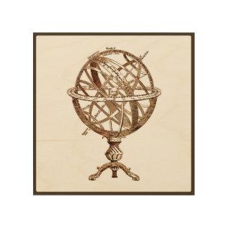 Armillary Celestial Sphere Vintage Sepia Wood Wall Decor