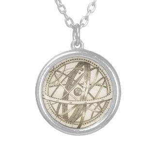 Armillary Sphere Original Sketch Silver Plated Necklace