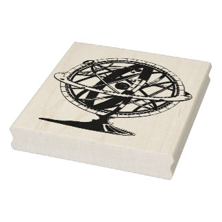Armillary Sphere Silhouette Vintage Rubber Stamp