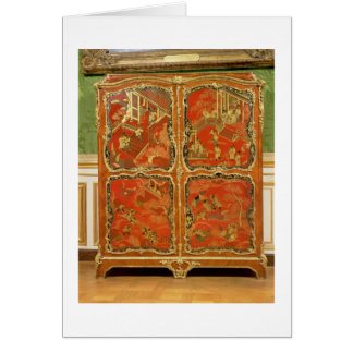 Armoire with four Chinoiserie red lacquer panels e Card